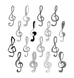 Doodle set of black treble clef vector image