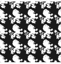 heraldic seamless pattern with lion silhouette vector image vector image