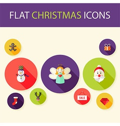 Set of Five Flat Circle Christmas Icons vector image vector image