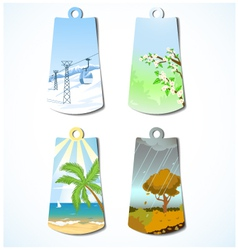 Set of four badges with seasonal backgrounds vector image vector image