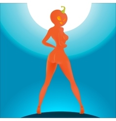 The girl with the pumpkin head on halloween lady vector