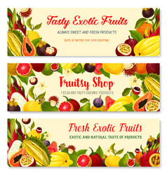 Banners of exotic fresh tropical fruits vector