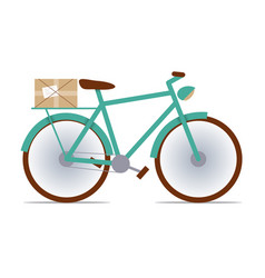flat fixed-gear bike with a package vector image vector image