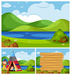 three nature scenes with kids camping vector image