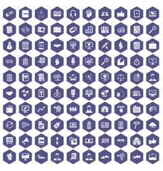 100 business training icons hexagon purple vector