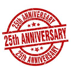 25th anniversary round red grunge stamp vector
