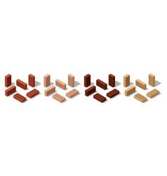 3d isometric bricks isolated bricks for wall vector image