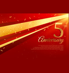 5th anniversary celebration card template vector
