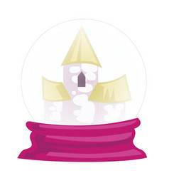 A palace inside the crystal ball on white vector