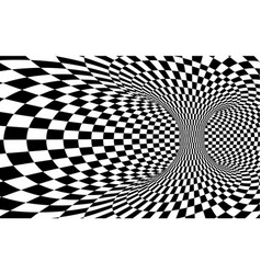 abstract wormhole tunnel black and white square vector image