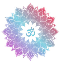 Aum om ohm symbol in decorative round mandala vector