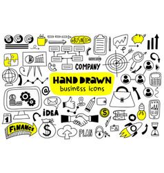 big set hand drawn business icons vector image