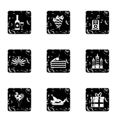 Birthday icons set grunge style vector