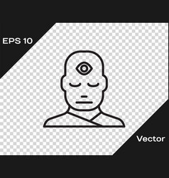 Black line man with third eye icon isolated vector
