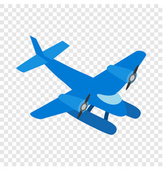 Blue small plane isometric icon vector