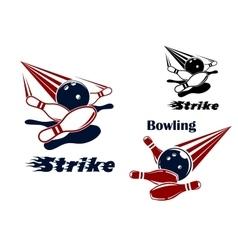 Bowling strike emblems with balls and ninepins vector image vector image