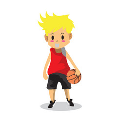 boy play basketball character design cartoon art 2 vector image