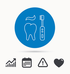 brushing teeth icon electric toothbrush sign vector image