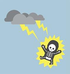 Businessman hit lightning strike vector