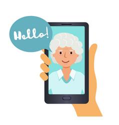 call on your smartphone grandma says hello vector image