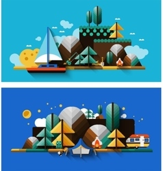 Camping Landscapes Set vector image