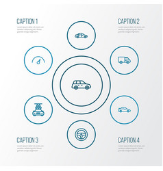 Car outline icons set collection of caravan vector