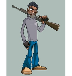 cartoon man with a gun angrily staring vector image
