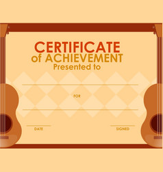Certificate template with guitar vector