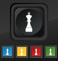 Chess king icon symbol Set of five colorful vector
