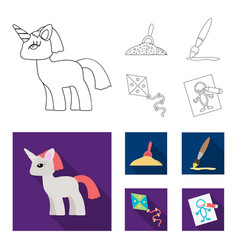 Children toy outlineflat icons in set collection vector