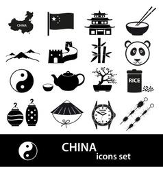 China theme black icons set eps10 vector image