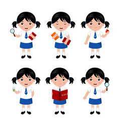 collection little girls in school uniform vector image