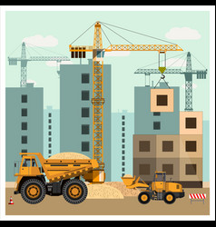 construction site with equipment vector image vector image