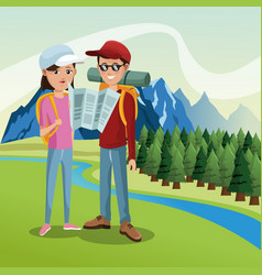 couple tourist hiking map river landscape vector image