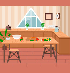 Cozy kitchen interior cooking process on table vector