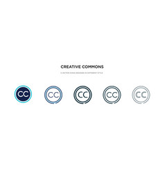Creative commons icon in different style two vector
