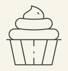 Cupcake thin line icon confectionery vector