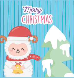 Cute sheep with star and tree merry christmas vector