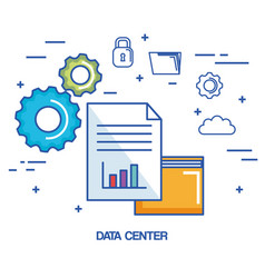 data center folder file archive security cloud vector image