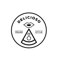 Delicious italian pizza logo with mouth icon vector