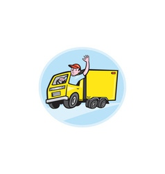 Delivery Truck Driver Waving Cartoon vector