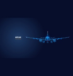 Digital polygonal wireframe airplane vector