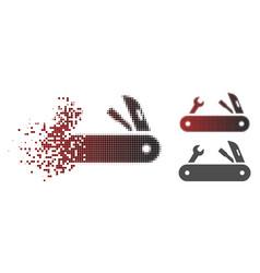 Disintegrating pixel halftone multi-tools knife vector