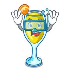 Diving mimosa character cartoon style vector
