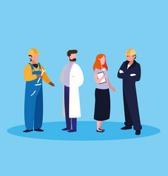 Doctor with group professionals vector