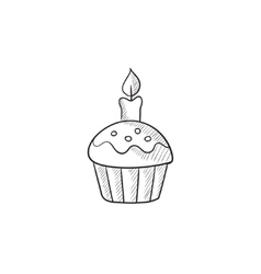 Easter cupcake with candle sketch icon vector image