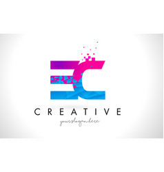 Ec e c letter logo with shattered broken blue vector