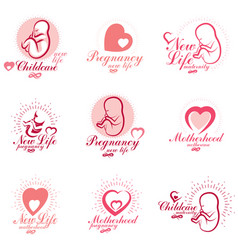 Embryo and newborn emblems set isolated on white vector