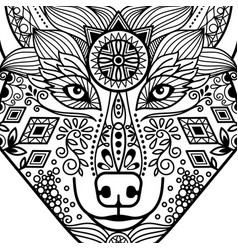 Entangle black contour wolf head vector