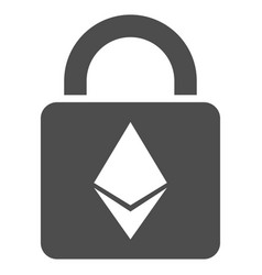 Ethereum lock flat icon vector